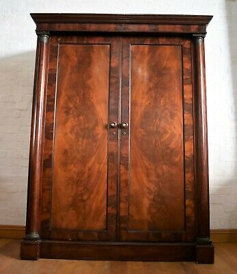Antique Victorian Empire style large double flame mahogany wardrobe