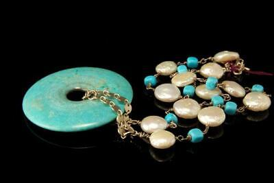Vintage Chinese Turquoise Disc Mabe Pearl Silver Sterling Necklace D115-1B