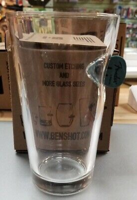 BenShot 16 OZ. Pint Glass with Real FENDER GUITAR PICK.. Made in the USA