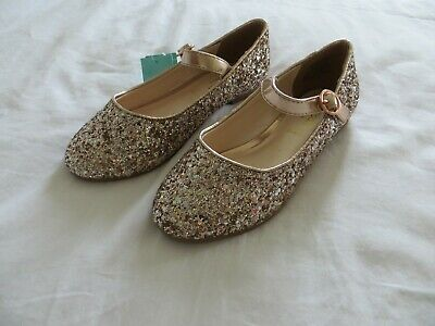 BNWT Girls Monsoon Gold Glitter Mary Jane Bridesmaid Party Shoes Size 12  Eur 30