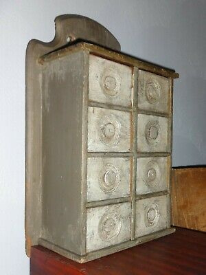Antique 8 Drawer Spice Cabinet/Box/Cupboard-OLD GRAY PAINT/Apothecary-AAFA