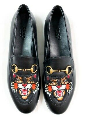 4f549018e Gucci New Jordaan Angry Cat Tiger Black Leather Gg Horsebit Flats Loafers 36