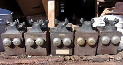 Five Old Oak Crank Wall Phones with Generator and Bakelite Cradle