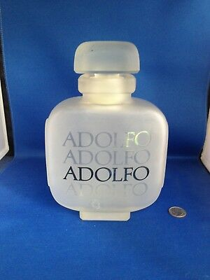 """Vintage Empty Frosted Adolfo Perfume Display Bottle Store Marketing, 9"""""""