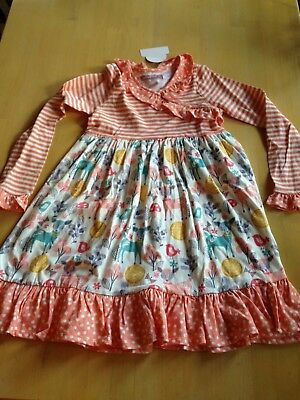 NWT Jelly The Pug Dress Size 10, Peach Stripes Deer, 9064