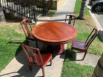 "54"" Rosewood Flower And Bird Design Round Dining Table & 4 Chairs"