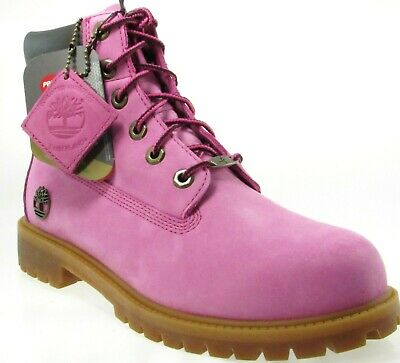"TIMBERLAND 1590A YOUTH 6"" PREMIUM PINK NUBUCK WATERPROOF BOOTS Size 4Y-7Y"