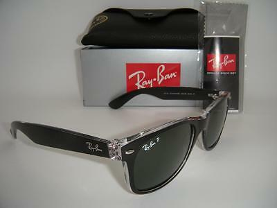New Authentic Ray-Ban New Wayfarer Rb 2132 6052/58 55Mm Black / Green Polarized