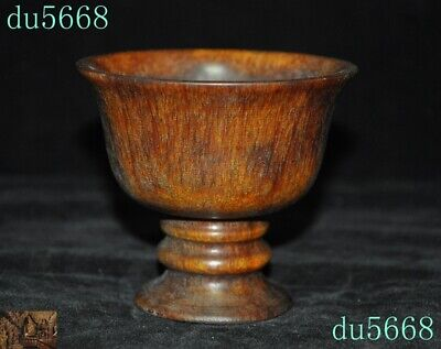 9cm Old Chinese Ox horn Horns Hand-carved Wine vessel wineglass goblet Cup Bowls