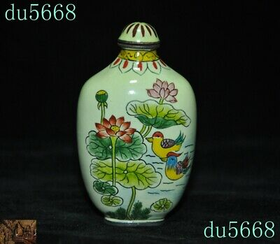 Chinese palace dynasty Bronze Cloisonne lotus mandarin duck snuff bottle statue