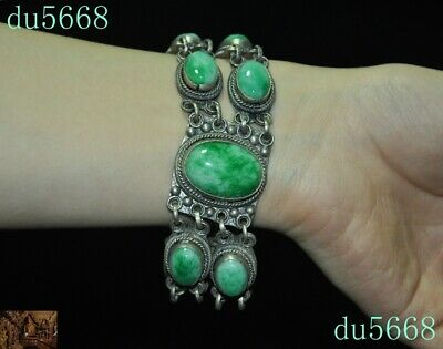 China dynasty Tibet silver Inlay green jade Exorcism amulet Bracelet Hand chain