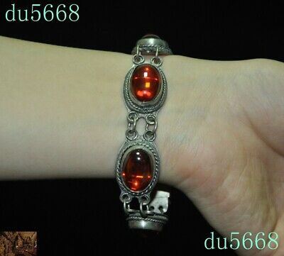 Old China dynasty Tibet silver Inlay red gem Exorcism amulet Bracelet Hand chain