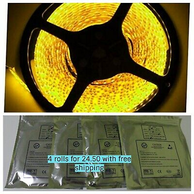 Wholesale 3528 5M/300 SMD LED Roll Strip Light 12V Waterproof yellow color