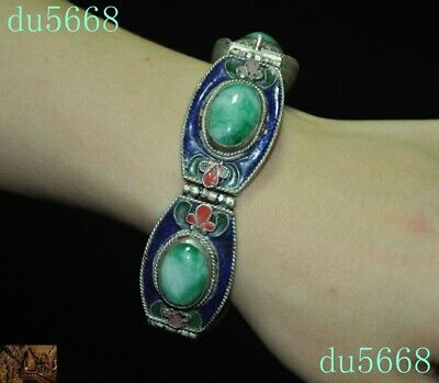 Old Chinese Tibetan silver Cloisonne Inlay green jade amulet Bracelet Hand chain