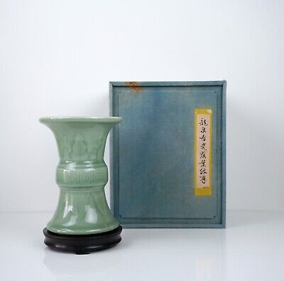 A 'Longquan' Celadon Vase with Box and Stand