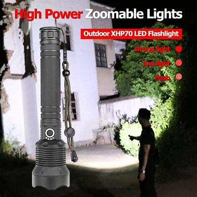 200000 Lumens Zoomable XHP70 LED USB Rechargeable Flashlight Torch Outdoor Lamp