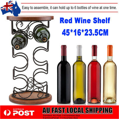 6 Bottles 45cm Metal Wine Cabinet Storage Table Hook Rack Holder Bar Organiser