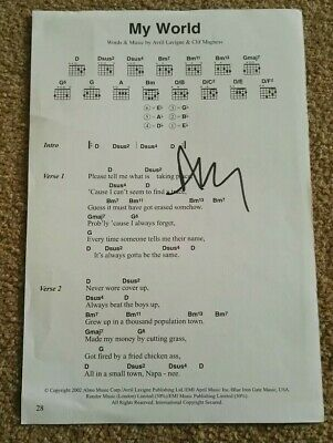AVRIL LAVIGNE 'My World' Signed Autograph Sheet Music