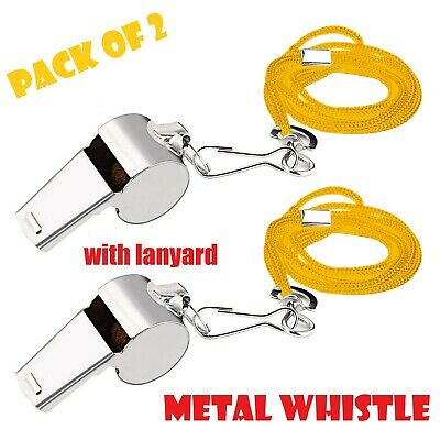 2 X Metal Referee Whistle with with lanyard Key Ring Sport School Football Rugby