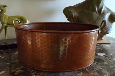 Large Vintage French Oval Shape Hammered Copper Planter with Brass Handles