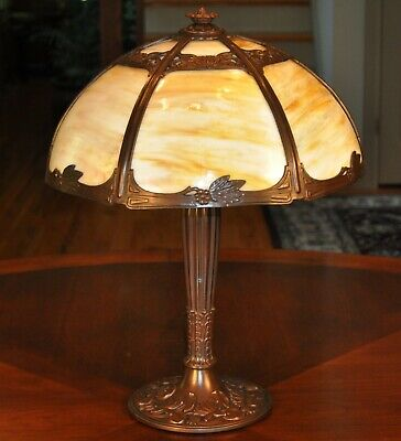 Arts and Crafts Waterlily Miller Slag Glass Lamp