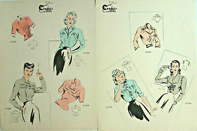 French Fashion Prints Editions Croquis Couture Mid Century Blouses Two Pieces