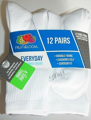 Fruit of the Loom Men's Everyday Cushioned Crew Socks Size 6-12 QTY 12 Pair
