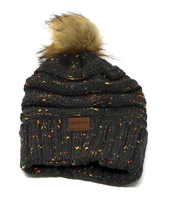 Chalier Womens Slouchy Winter Knit Beanie Hats Confetti Trendy Stretch Pom Pom H