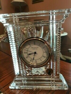 "Waterford Crystal Atrium 7 "" Diamond & Wedge Cut Desk Clock EUC No Box~ STELLAR!"