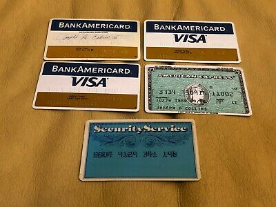 Lot of 5 Vintage Credit Cards Bank Americard Visa American Express 1977 78 79 80