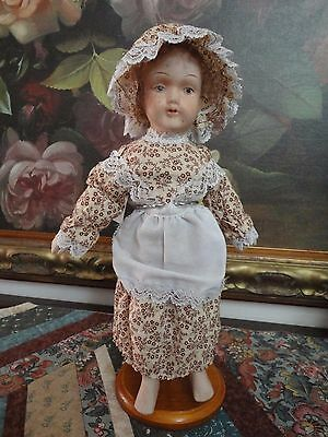 Antique Bisque Doll Marked MS 12 inch Original Clothing Red Hair