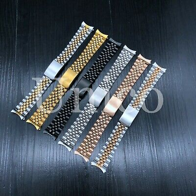13 17 19 20 21 MM Steel Watch Band Strap Clasp Bracelet Curved Fit Rolex Jubilee