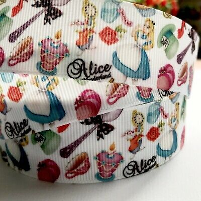 Alice In Wonderland 1 Metre 25mm Crossgrain Ribbon/ Craft / Hair Ties/ Vintage