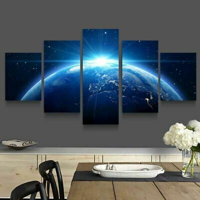 Nightscape Planet Earth Outer Space Stars Canvas Prints Painting Wall Art 5PCS