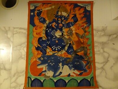 ANTIQUE MONGOLIAN BUDDHIST THANGKA PAINTING of a YAMA DHARMARAJA