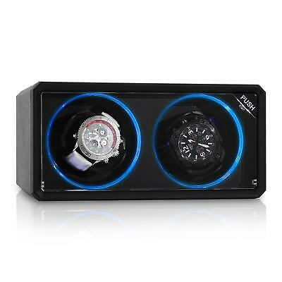 Scatola Porta Orologi Tempo Carica Watch Winder Box Girevole LED Espositore