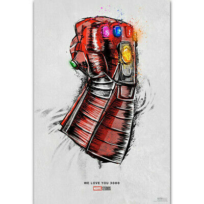 ZT1635 New Avengers Endgame Movie Release Iron Man Love You 3000 Poster Art Deco