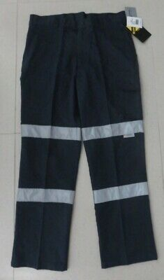 Work Craft Wp3065 Mens Size 92S Modern Fit Navy Cotton Cargo Pant Csr Tape