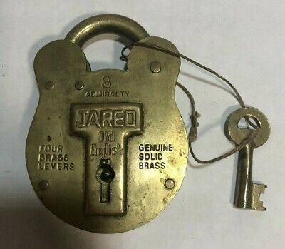 Vintage JARED Solid Brass Lock 8 Admiralty with Key