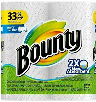 Bounty Select-a-Size 2 x More Absorbent Paper Towels,11 x 5.9-Inches, 96-PLY
