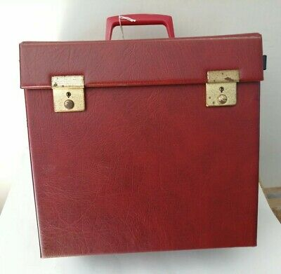 Original Vintage 1970's Red Vinyl LP Vinyl Record Box Carrying Case With Key #1