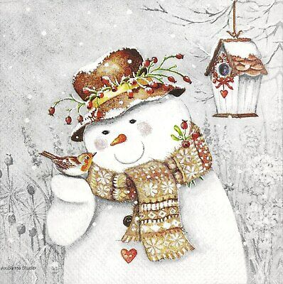 3 x Single SMALL Paper Napkins For Decoupage Christmas Snowman With Bird S114