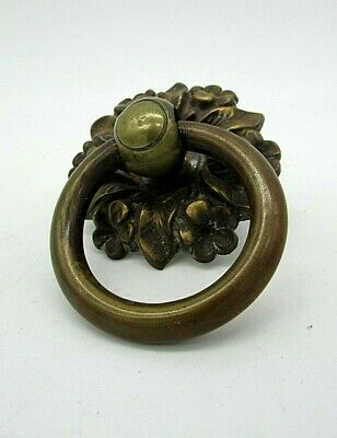 1 Antique, Brass Ring handle with Moulded back plate, Re claimed condition.