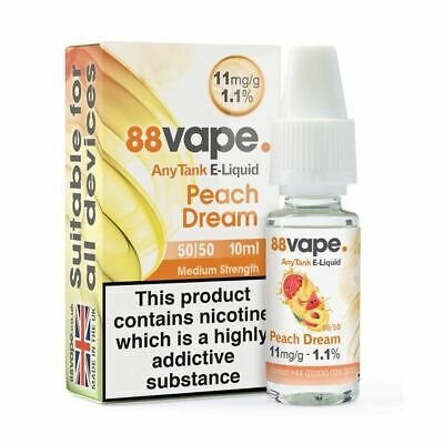 88VAPE VALUE Pack of 20 E-Liquids PEACH DREAM 11mg BULK BUY MADE IN THE UK