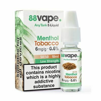 88VAPE VALUE Pack of 20 E-Liquids MENTHOL TOBACCO 6mg BULK BUY MADE IN THE UK