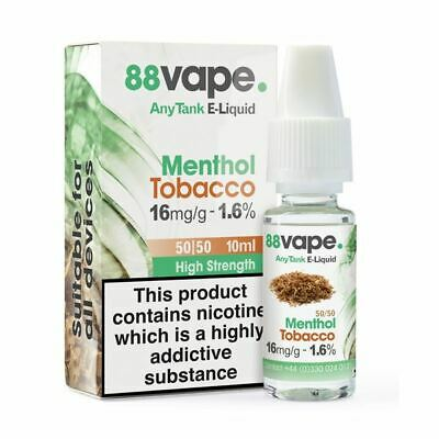 88VAPE VALUE Pack of 20 E-Liquids MENTHOL TOBACCO 16mg BULK BUY MADE IN THE UK