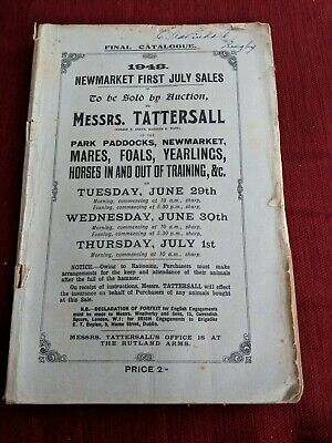 1948 June NEWMARKET TATTERSALL HORSE racing SALE AUCTION CATALOGUE 80+ PAGES