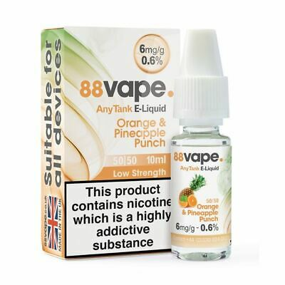 88VAPE VALUE Pack of 20 E-Liquids ORANGE & PINEAPPLE PUNCH 6mg BULK BUY