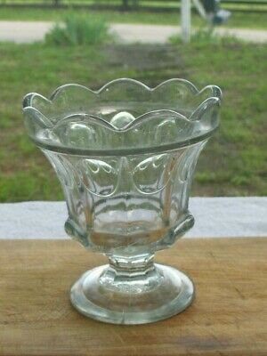 Antique EAPG Flint Glass Compote Sugar Thumbprint Pattern Mold Blown 1830s 19th
