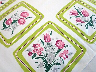 Vintage Tablecloth Simtex Tulip Mum Bouquet Print Mcm Pink Gray Lime Green 45X51